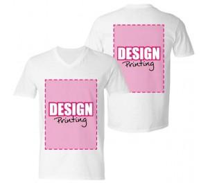 T-shirt V-hals bedrukken: Voor- en achterkant